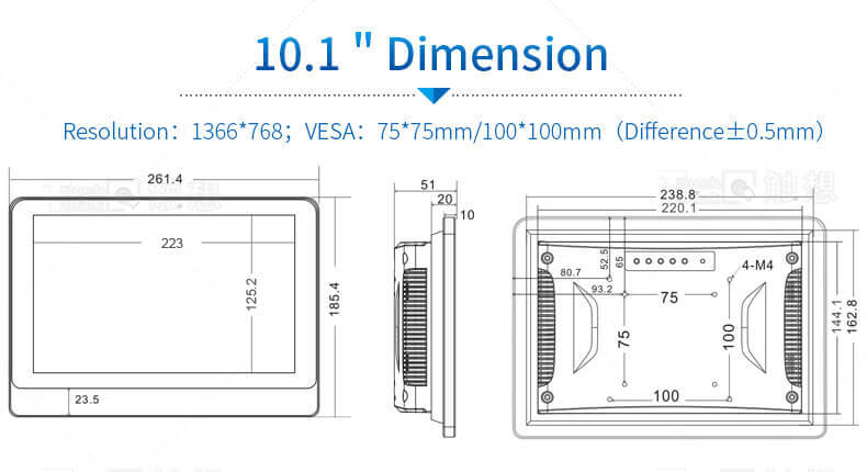 10.1 inch industrial panel pc