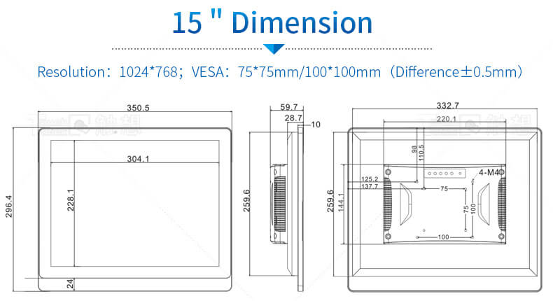 """15"""" Desktop LCD Monitors For Industrial Use"""