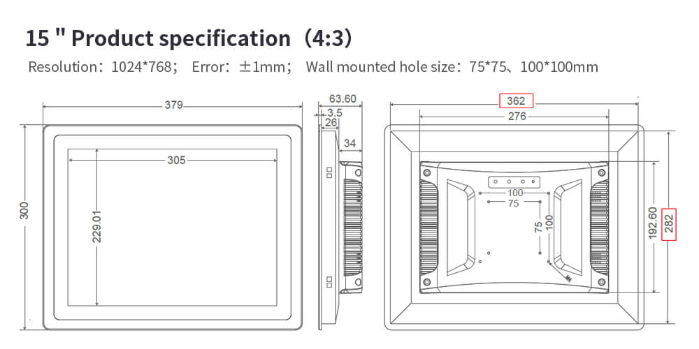 """Sunlight Readable Industrial Monitor with Optional Touchscreen Size 10.1"""""""