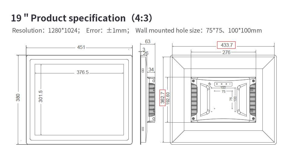 "Industrial LCD Monitor VGA HD Input 12.1"""