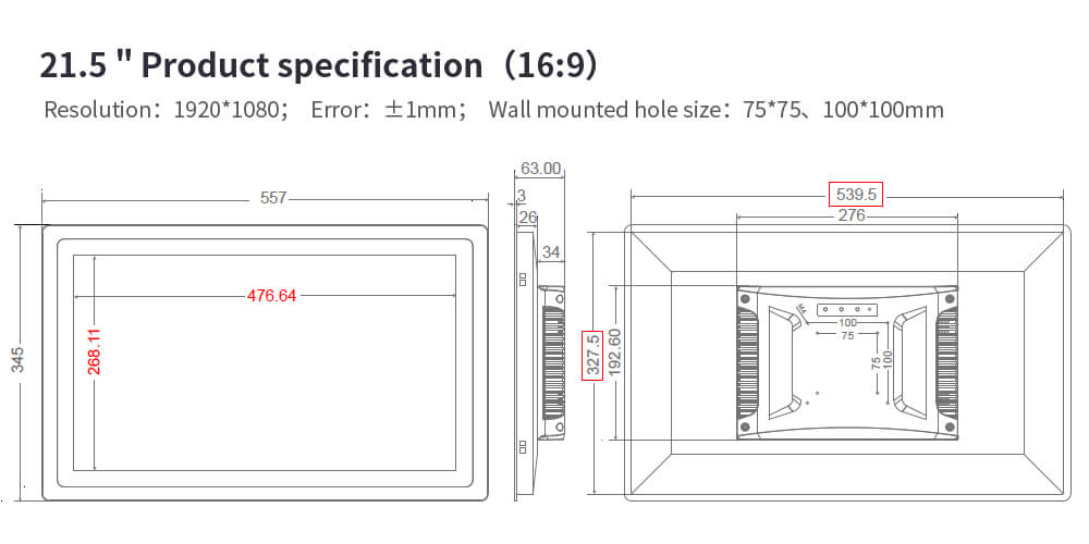 """Newest LCD Industrial Monitor with High Resolution 19"""""""