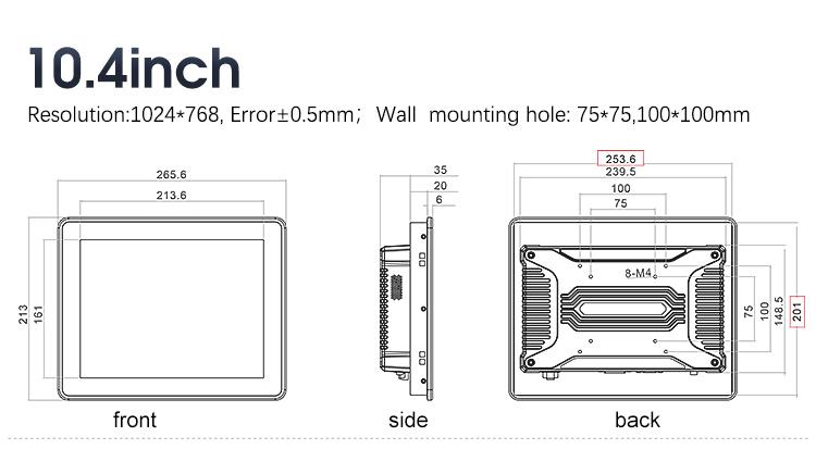 "10.4"" Industrial Rugged Flat Panel Displays"