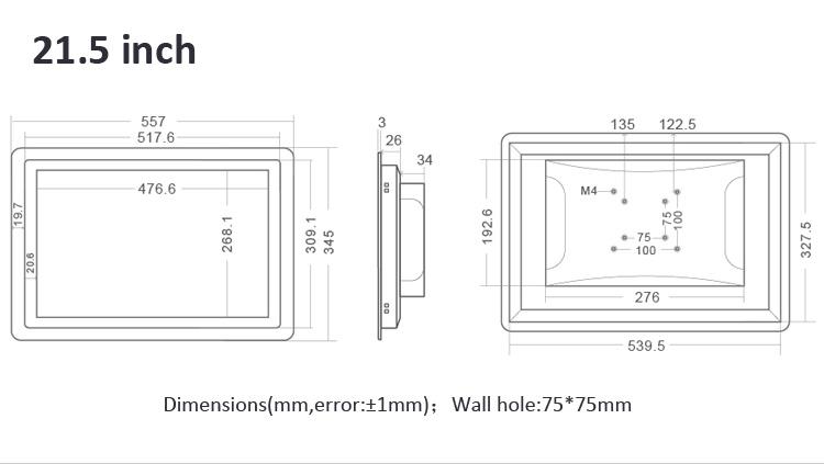 Industrial Grade LCD Monitor IP65 Waterproof 21.5 Inch