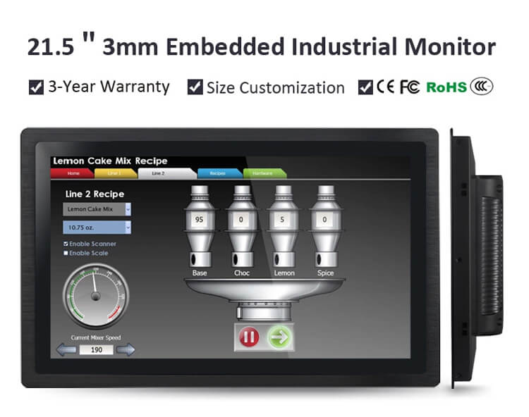 Embedded Industrial Monitor Waterproof and Dustproof HD 21.5""